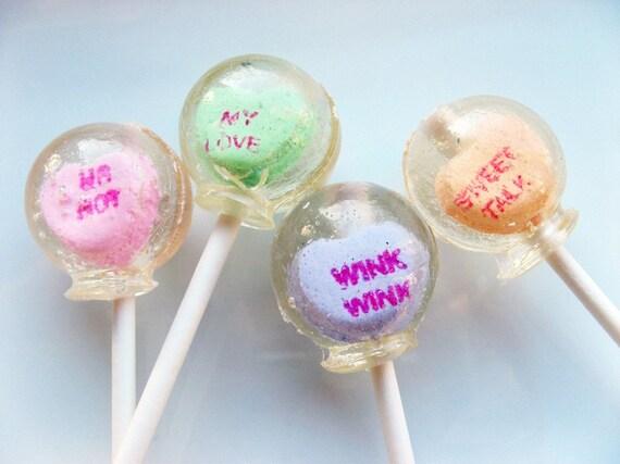 Sweet talk conversation heart Valentine lollipops - 6 pc.