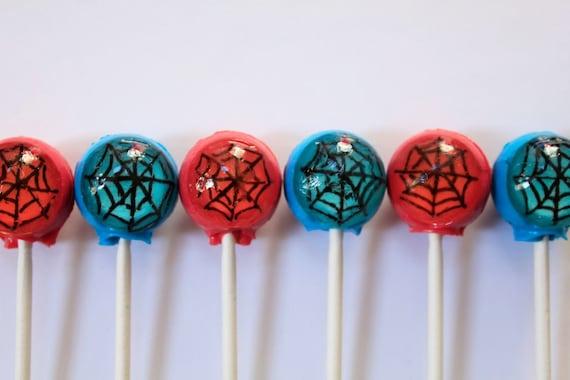 Spiderman super hero lollipops - 6 pc - MADE TO ORDER