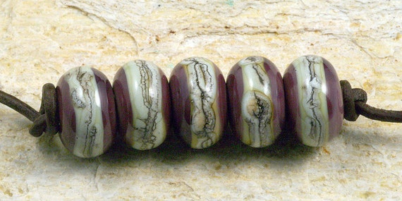 Kingly Stripes Handmade Glass Lampwork Beads (5 Count) by Pink Beach Studios - SRA