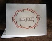 Sweet Holiday lettepress folded notes