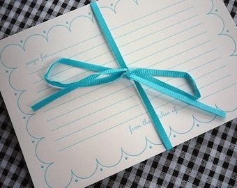 Blue Scallop Letterpress Recipe Cards