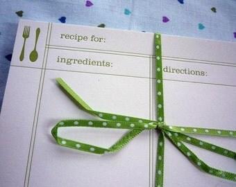 Green Cutlery Letterpress Recipe Cards