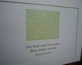 """Proverb """"One kind word can warm three winter months"""" quotation mini matted print"""