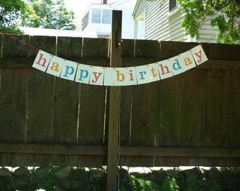 Letterpress printed Happy Birthday banner