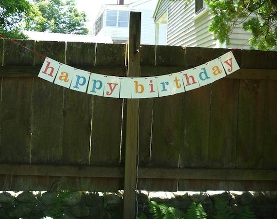 Letterpress printed Happy Birthday banner