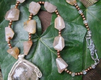 Gold Rutilated Goddess with Brown Freshwater Pearls