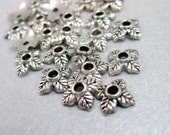 Four Petal Leaf Antique Silvertone Bead Caps - 6mm - Set of 25