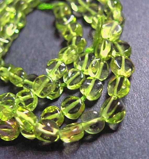 Peridot Baroque Coin Beads - 4-5mm - 7 Inch Strand