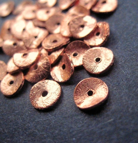 Copper Wavy Disk - 8mm - 20 Beads