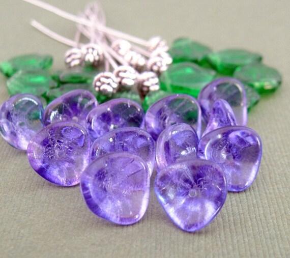 Ultra Violet Czech Glass Garden Set - Flowers, Leaves, Fancy Head Pins - 36 Pieces