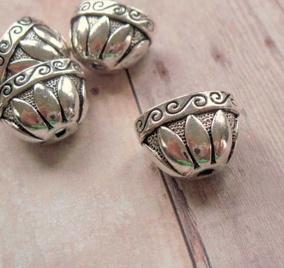 Antiqued Silver Plated Bell Shaped Cones - 14x20mm - 2 Pieces