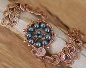 Copper Bracelet with Hematite - Egyptian Coil