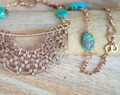 Copper Woven Half Moon Necklace with Turquoise