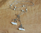 Artisan Pearls and Sterling Silver Necklace, Oxidized, Handmade
