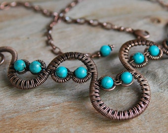 Artisan Copper Woven Wave Necklace with Turquoise