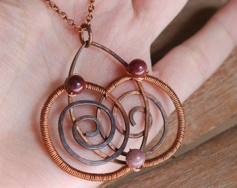 Artisan Copper and Mookaite Pendant - Intersecting Spirals, Handmade