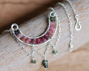 Artisan Tourmaline and Sterling Silver Necklace, Watermelon Slice