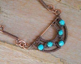 Artisan Half Circle Copper and Turquoise Necklace