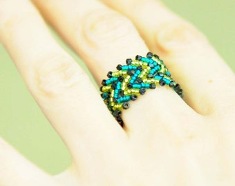 Lime and Teal Zigzag Ring, Handmade Beadwoven Ring