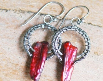 Artisan Earrings, Burgundy Biwa Pearl and Sterling Silver, Chili Pepper