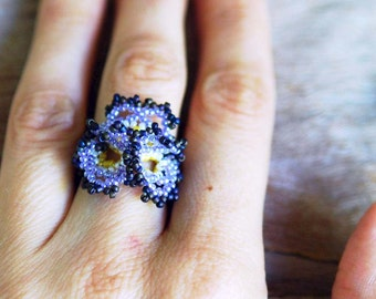Artisan Pansy Flower Beaded Ring, Handmade