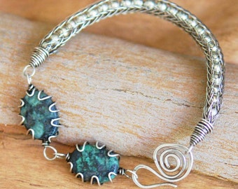 Artisan Sterling Silver Viking Knit Bracelet with African Turquoise