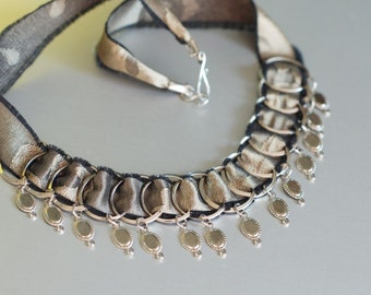 Silk and Steel Hoops Necklace with Charms, Antique Gold and Black