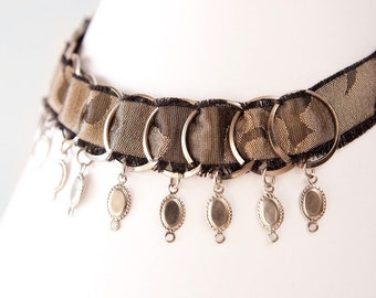 Silk and Steel Necklace, Brown and Black