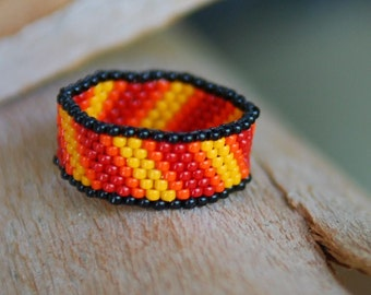 Diagonal Stripes Peyote Beaded Ring - Tiny Size 15 Beads - Yellow, Orange, Red