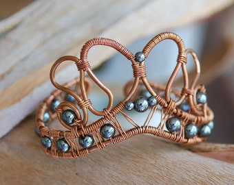 Artisan Copper and Hematite Cuff, Wire Wrapped, Artisan Jewelry