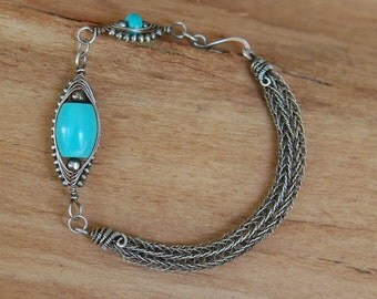 Artisan Sterling Silver Viking Knit Bracelet with Turquoise
