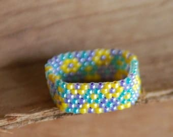 Spring Flowers Peyote Beaded Ring -Tiny Size 15 Beads