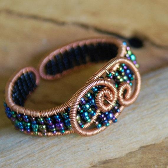 Artisan Copper Swirls Cuff with Peacock Beads