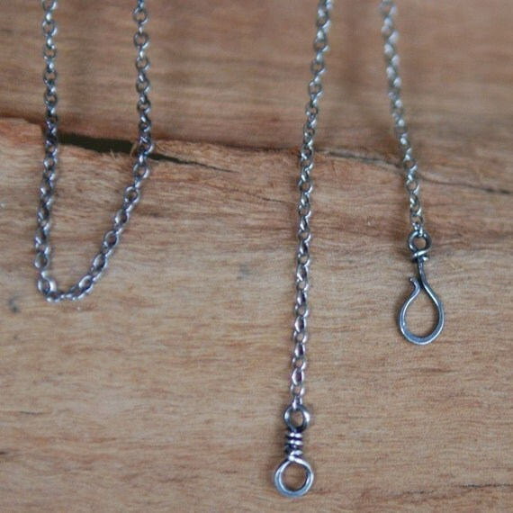 RESERVED - Oxidized Sterling Silver Chain with Handmade Clasp