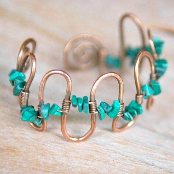 Artisan Copper Bracelet with Malachite, Handmade, Wire Wrapped