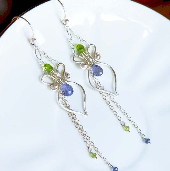 Artisan Gemstone Earrings, Amphora, Sterling Silver with Iolite and Peridot