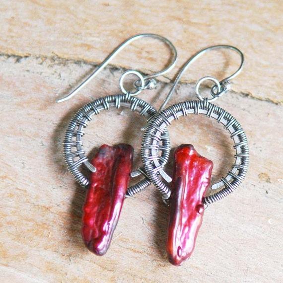 Artisan Earrings Burgundy Biwa Pearl And Sterling Silver