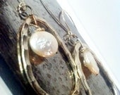 Land & Sea: Hammered Silver Loop and Coin Pearl drops hoop earrings