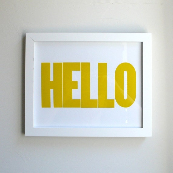 HELLO Letterpress Print 8x10 Yellow