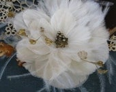 Bridal Feather Hair Flower, bridal hair piece, gold leaf, vintage pearls, Ships Immediately