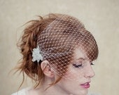 Birdcage veil, bandeau veil, bead accents, russian netting, blusher, wedding headpiece, bridal hair piece, Taylor Ships in 1 Month