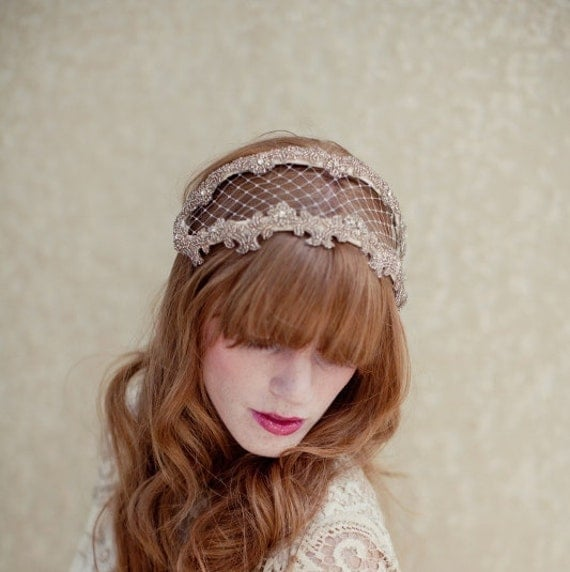 RESERVED FOR NICOLEDOBELL, Bridal headpiece, beaded headband, bridal headband, wedding head piece, veil,  Angie Ships in 1 Month