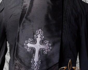 Mortelle Ascot Tie - Elegant Gothic Aristocrat Cross Cravat