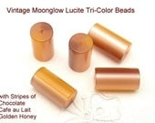 Autumn Vintage Moonglow Lucite Beads 10 Brown Gold Cylinders