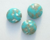 6 Old Vendome Stock Vintage Lucite Turquoise Lentils Beads Aqua Gold