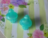 2 Vintage Moonglow Lucite Beads Turquoise Aqua - Asian Influence Paper Lantern