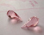 Pair VINTAGE Czechoslovakia Rosaline Crystal Briolette Beads Peachy Pink Faceted Teardrops