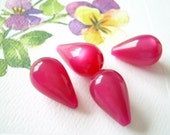 Vintage Moonglow Lucite Beads Raspberry 4 Teardrops Cranberry Fuchsia Pear