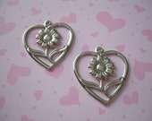 Vintage Connectors Silver Heart Charms Sunflower Findings