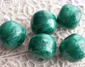 5 Emerald City Vintage Lucite Beads Green Pearlescent Bold Barrel Shape